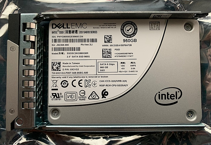 9x DellEMC 960GB SSD's nieuw - Intel SSD D3-S4610 Series-dpn-0x31g3-gen14caddy-jpg